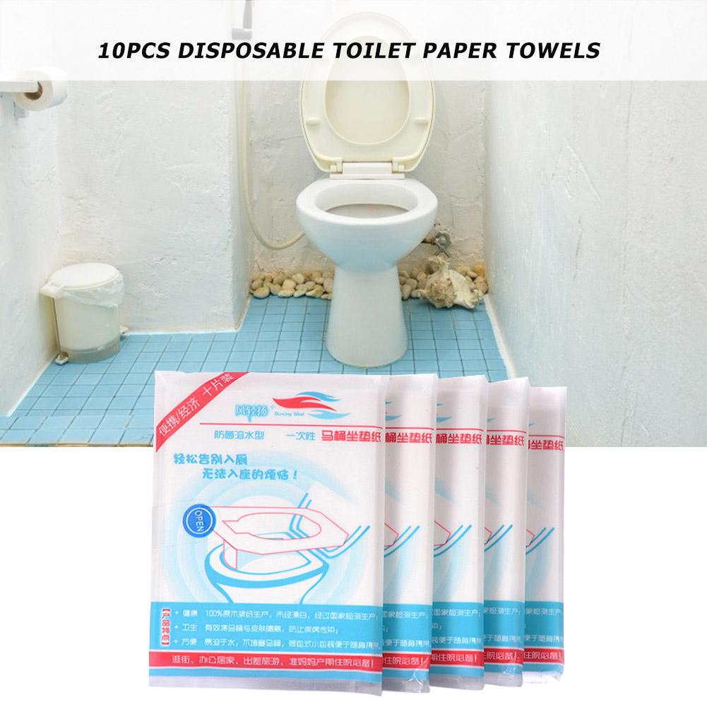 10pcs//Set Disposable Toilet Seat Cover Home Travel Bathroom Toilet Paper Pad
