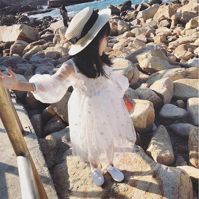 3d4e99f863e Summer Children Clothing Girls Skirt Print Puff Sleeve Princess Dress