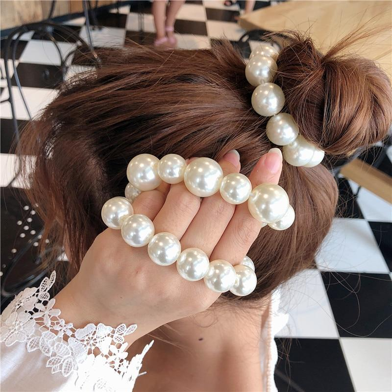 Details about  / Woman Big Pearl Hair Ties Fashion Korean Style Hairband Scrunchies