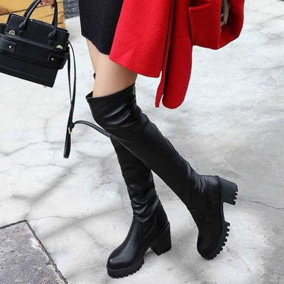 Women/'s Over Knee Riding Boots High Block Heel Faux Suede Cuffed Shoes Plus SIZE