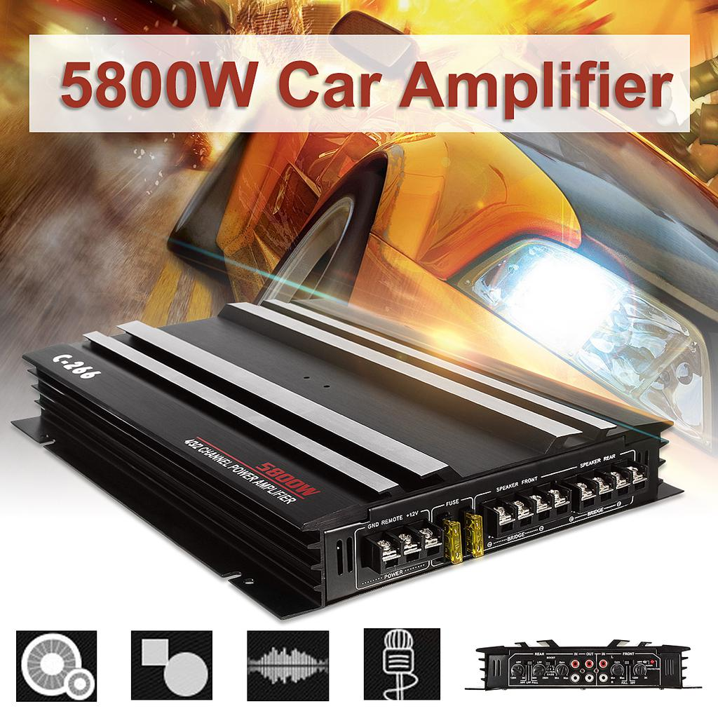 5800 W RMS 4//3//2 Channel Powerful Audio Power Stereo Amplifier Amp 4Ohm Aluminum