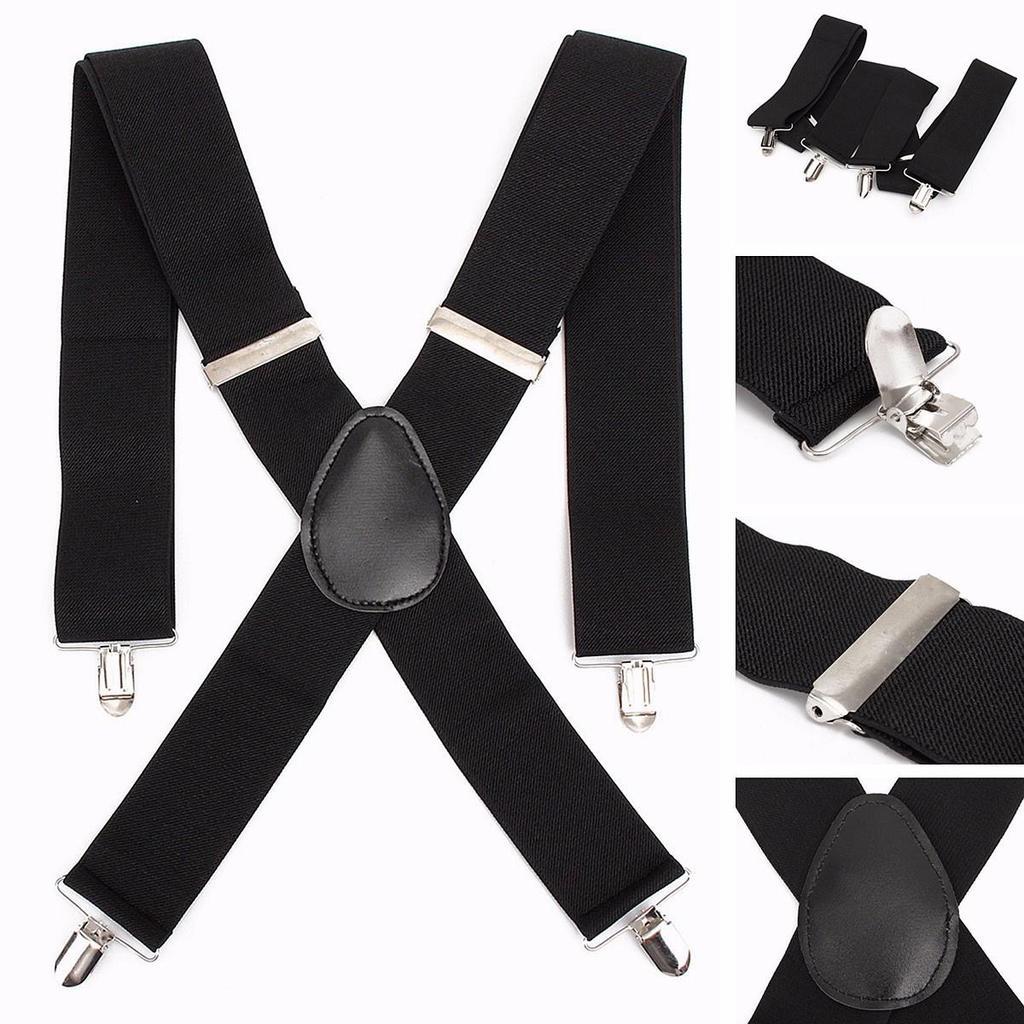 Black Plain Braces Mens Elastic Suspenders Adjustable 4 Clips-on X Shape  ~