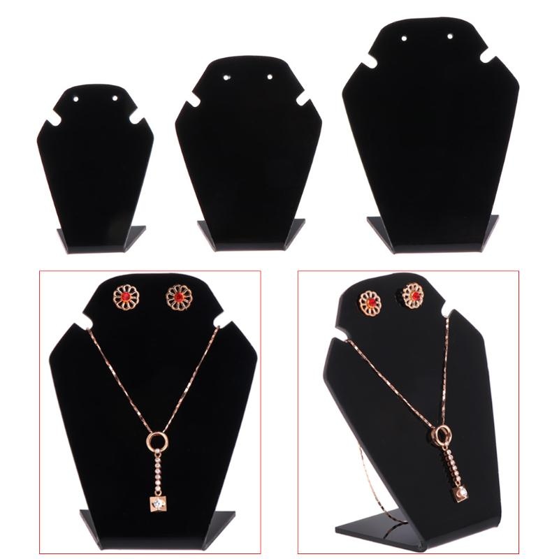 FA Velvet Jewelry Necklace Bust Earring Display Holder Stand Show Case Flowery