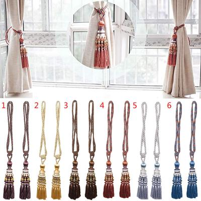 Colorful Handmade Cotton Hemp Knitted American Curtain Tieback Accessories Tied Rope Curtain Buckle Strap For Room Curtains Curtain Decorative Accessories