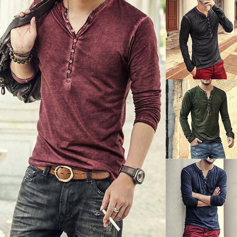 Fashion Mens Slim Fit Casual Shirt T-Shirt Long Sleeve Cotton Men T-Shirts Tops