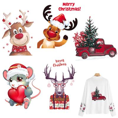 Christmas Patches For Clothing DIY Heat Transfer Stickers Washable Iron-on Patches T-shirt Jeans Stickers Christmas Deer Cars