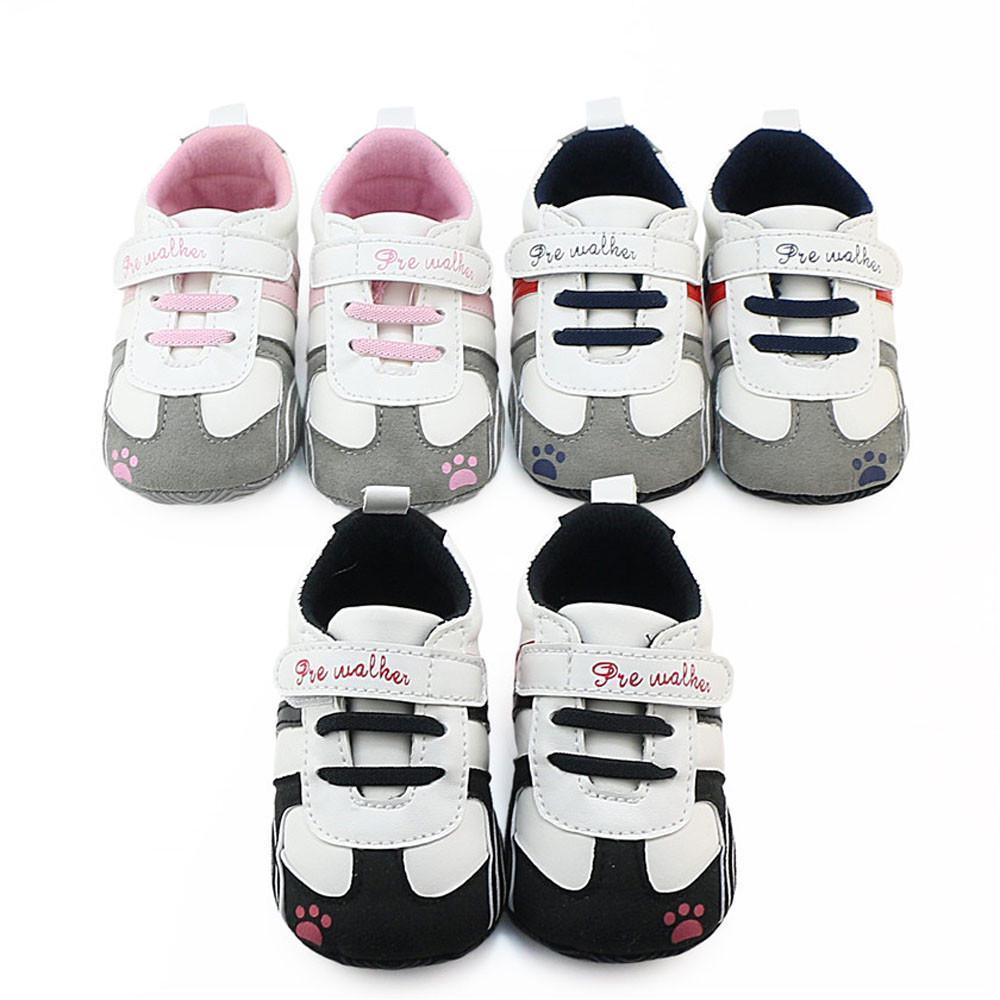 Newborn Baby Kids Boys Soft Sole Canvas Prewalkers Crib Shoes Anti-slip Sneakers