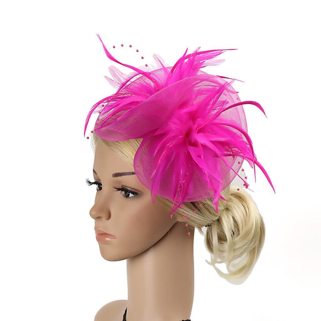 03955f60d3867 Ladies Retro Elegant Vintage Feather Mesh Net Fascinator Headband ...