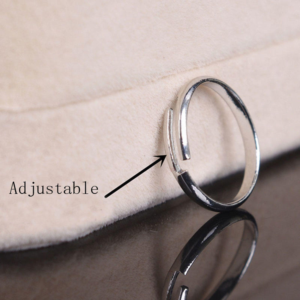 Women Men Letter A-Z Open Ring Adjustable Round Silver Plated Jewelry Gift