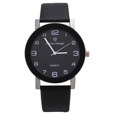 Fashion Student Quartz Watch Casual PU Leather Strap Black Round Wristwatch