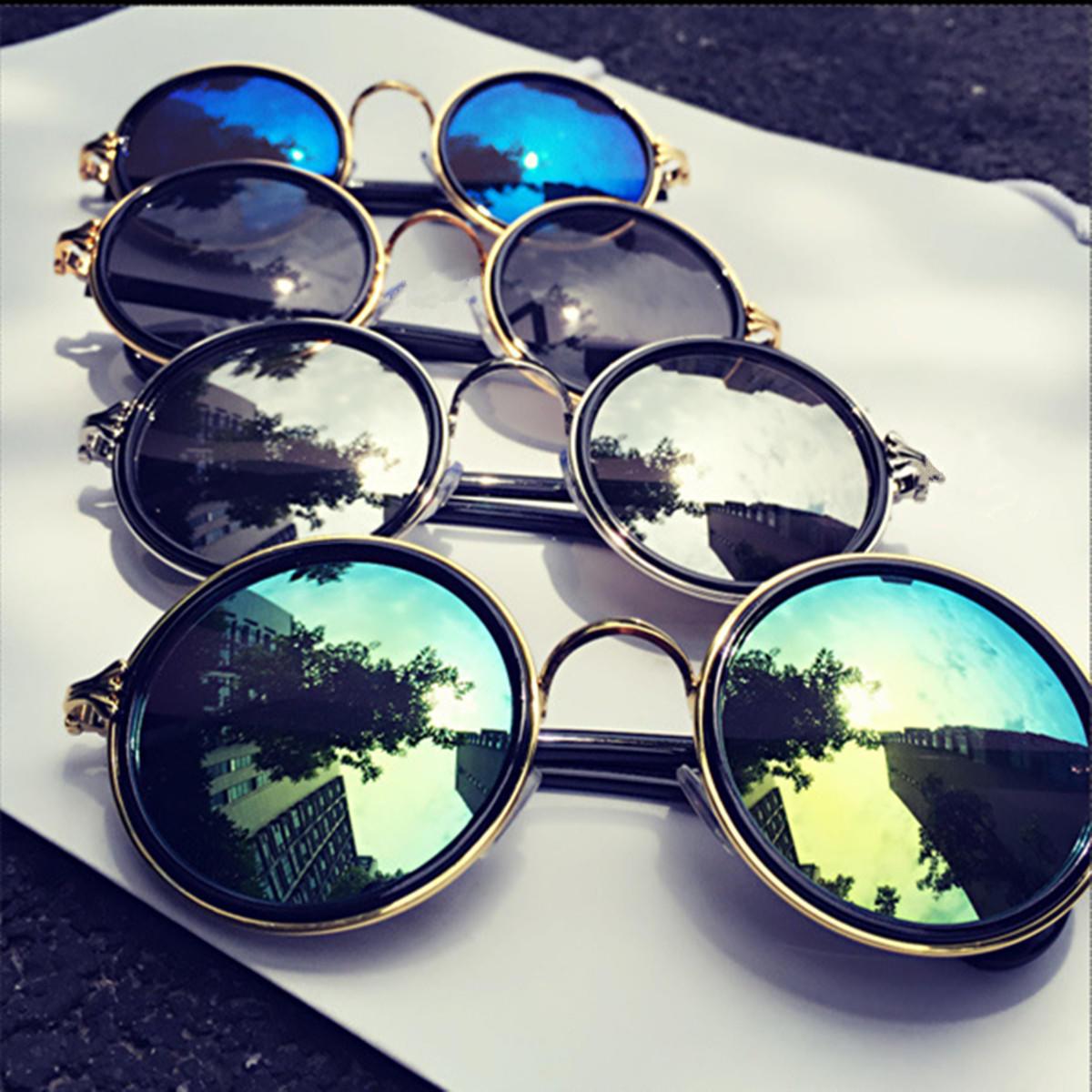 中性老式复古男装女装金属圆框太阳镜眼镜眼镜