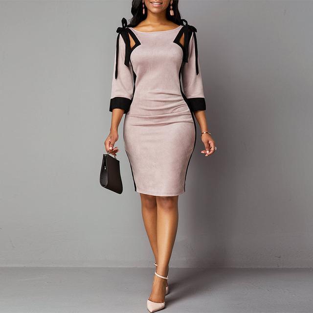 Женщины осень и зима галстук плечо три четверти рукав назад щели платье купить недорого — выгодные цены, бесплатная доставка, реальные отзывы с фото — Joom
