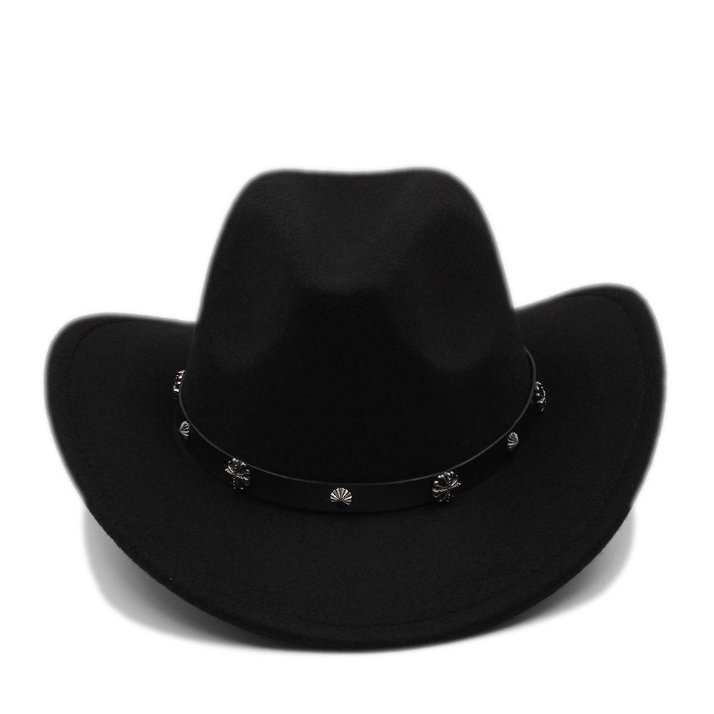 f376e07381d00 Homens mulheres Cowboy ocidental chapéus Panamá aba larga tampas Fedora  Trilby Sunhat rebite