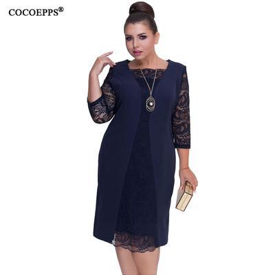 ff16f8729de Summer Autumn Plus Big Size Women Dress Lace Patchwork Bodycon Elegant  Office Party Dresses Work 6XL