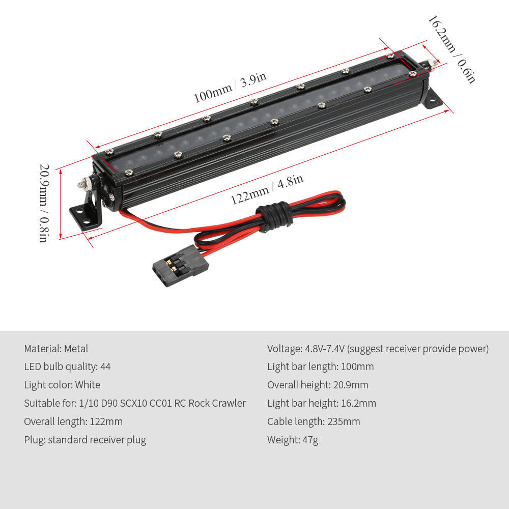 Metal Roof Rack 44LED Light Bar for SCX10 D90 TRX-4 CC01 1:10 RC Car Crawler