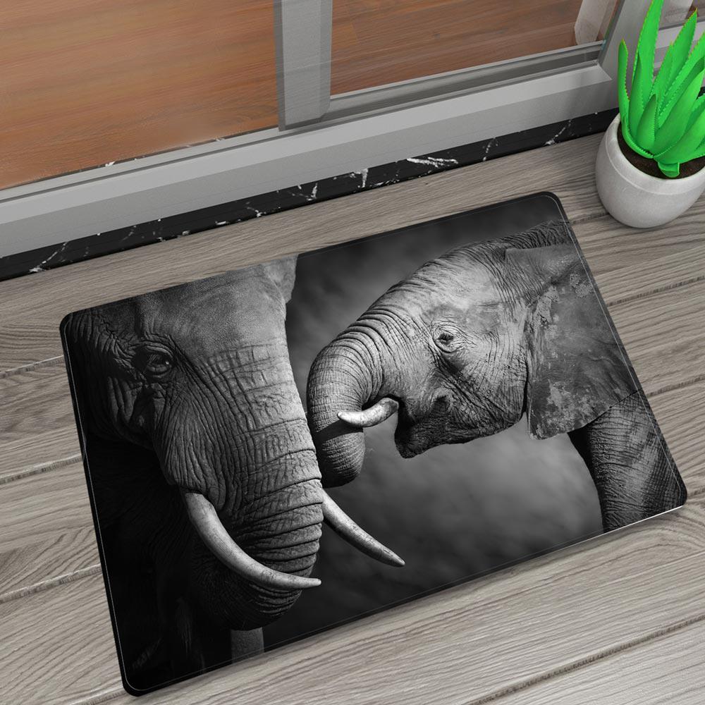 Africa Wild Elephant Mum Child Bath Rug Non-slip Bathroom Carpet Shower Mat