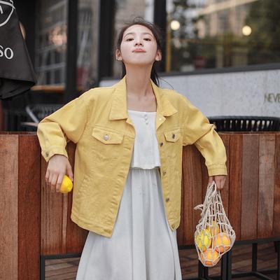 617e2f84211 Осенние Корейский сладкий пальто свежие лацкане длинные ковбой свободная  женщина короткий одежду малых куртка