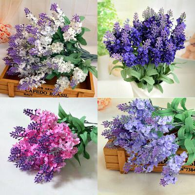 10 Heads Bouquet Silk Artificial Lavender Fake Garden Plant Flower Home Decor