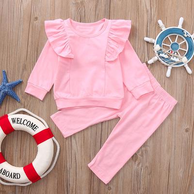 UK 2pcs Toddler Kids Girl Clothes Ruffle T-shirt Top Pants Outfit Sets Tracksuit