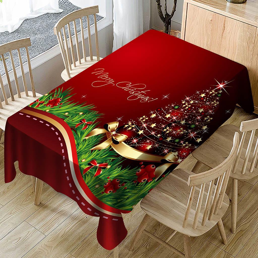Cartoon Xmas Christmas Tablecloth Table Cover Santa Claus Festival Decor
