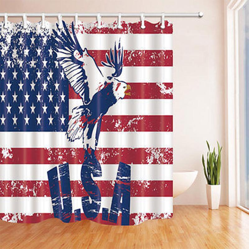 independence Day Bathroom Decor Shower Curtain Waterproof Fabric w//12 Hook