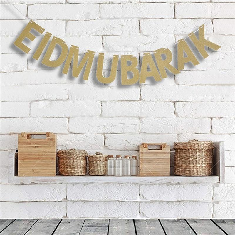 EID MUBARAK Gold Buchstaben String Hochzeit Party Dekoration Wimpel ...