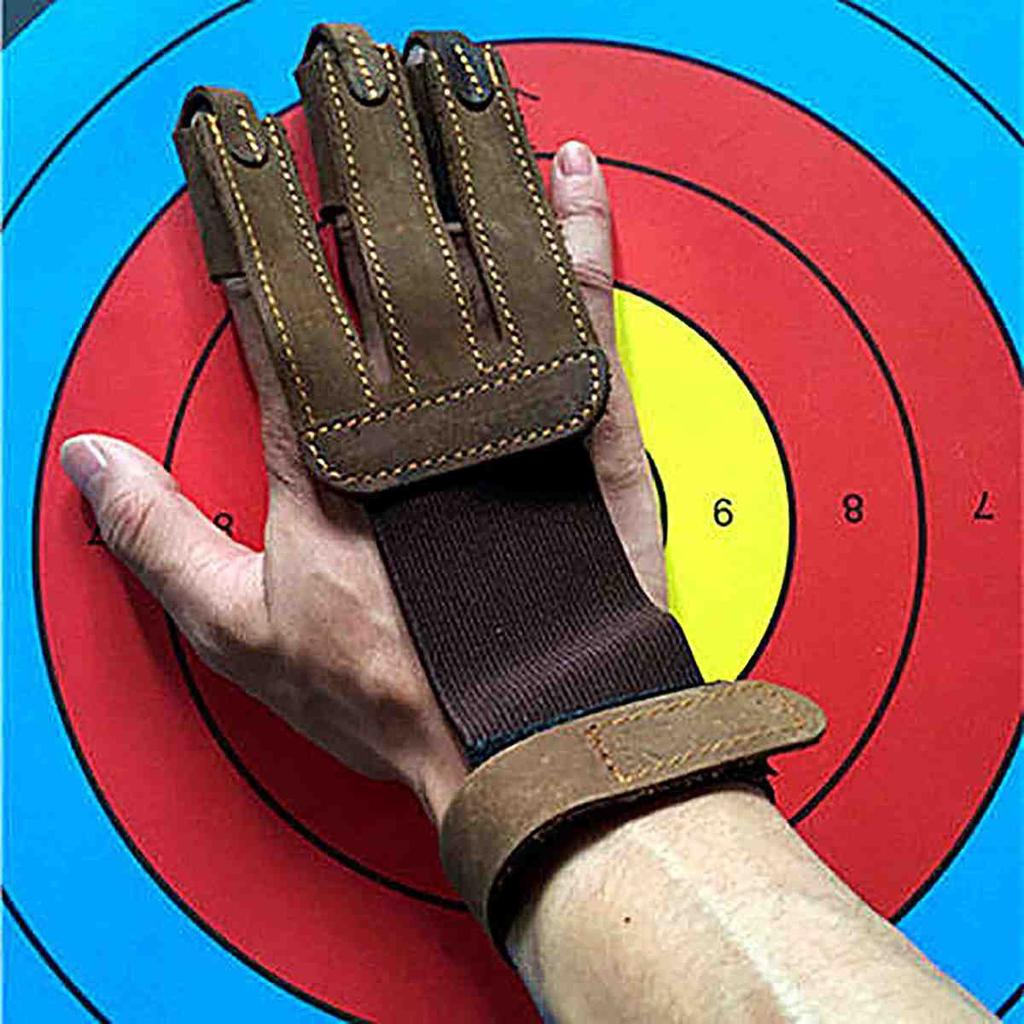 Leather Hand Guard 3 Finger Archery Protective for Shooting Hunting Sell
