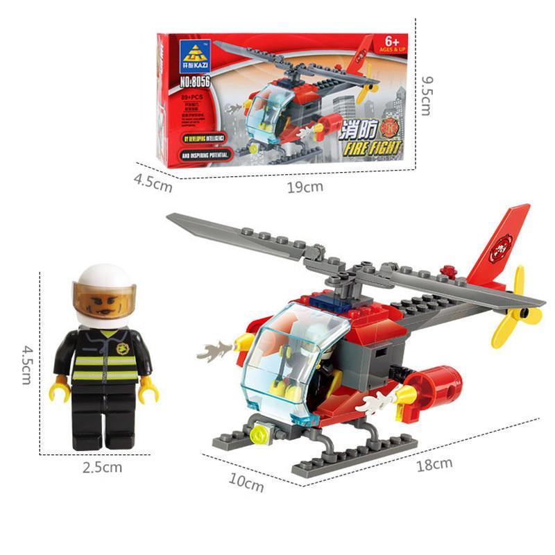 Fire Helicopter Educational Building Blocks Boy/'s Kids Children Bricks Toys Gift