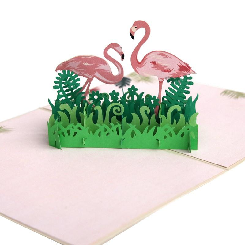 Pop up card,happy birthday,flamingo,30th,nature scene,Laser cut card,3d message in a bottle,pop out card,3d gift card,handmade card,3d