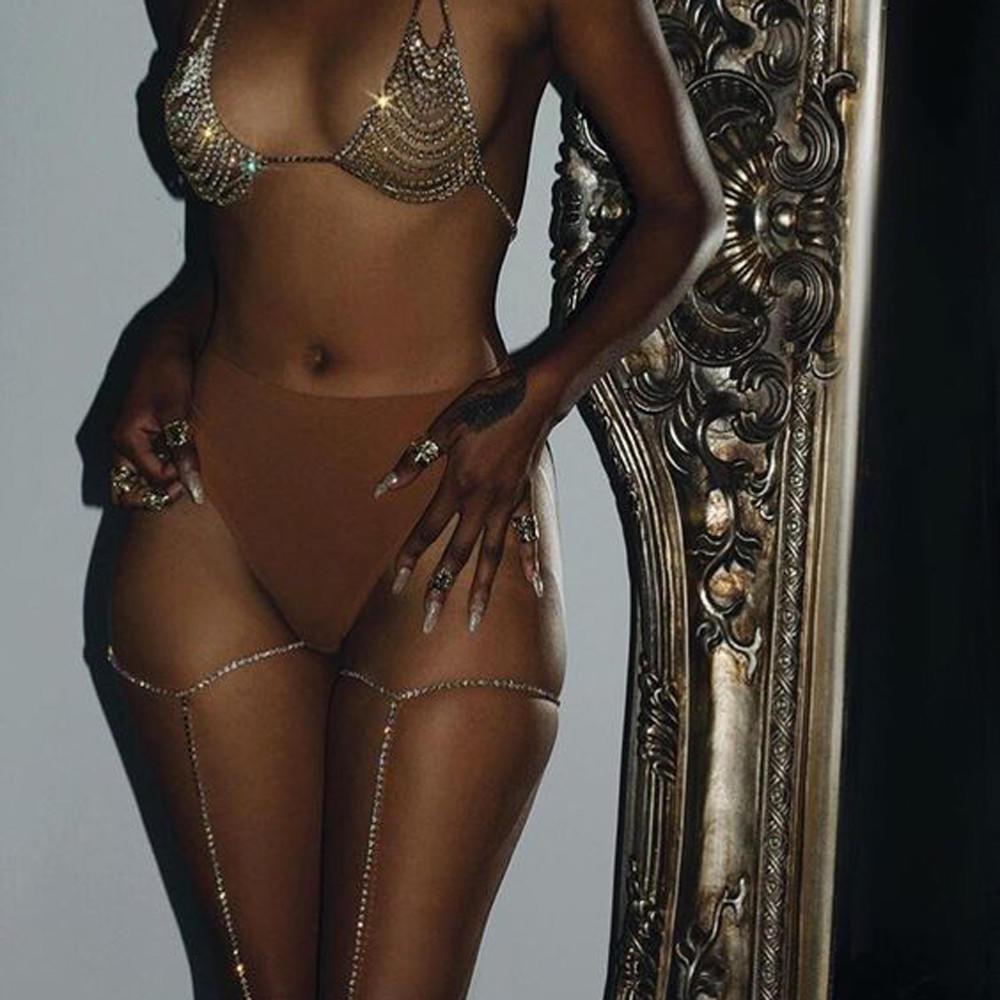 Summer Womens Shiny Body Bikini Beach Harness Jewelry Crystal Leg Thigh Chain G
