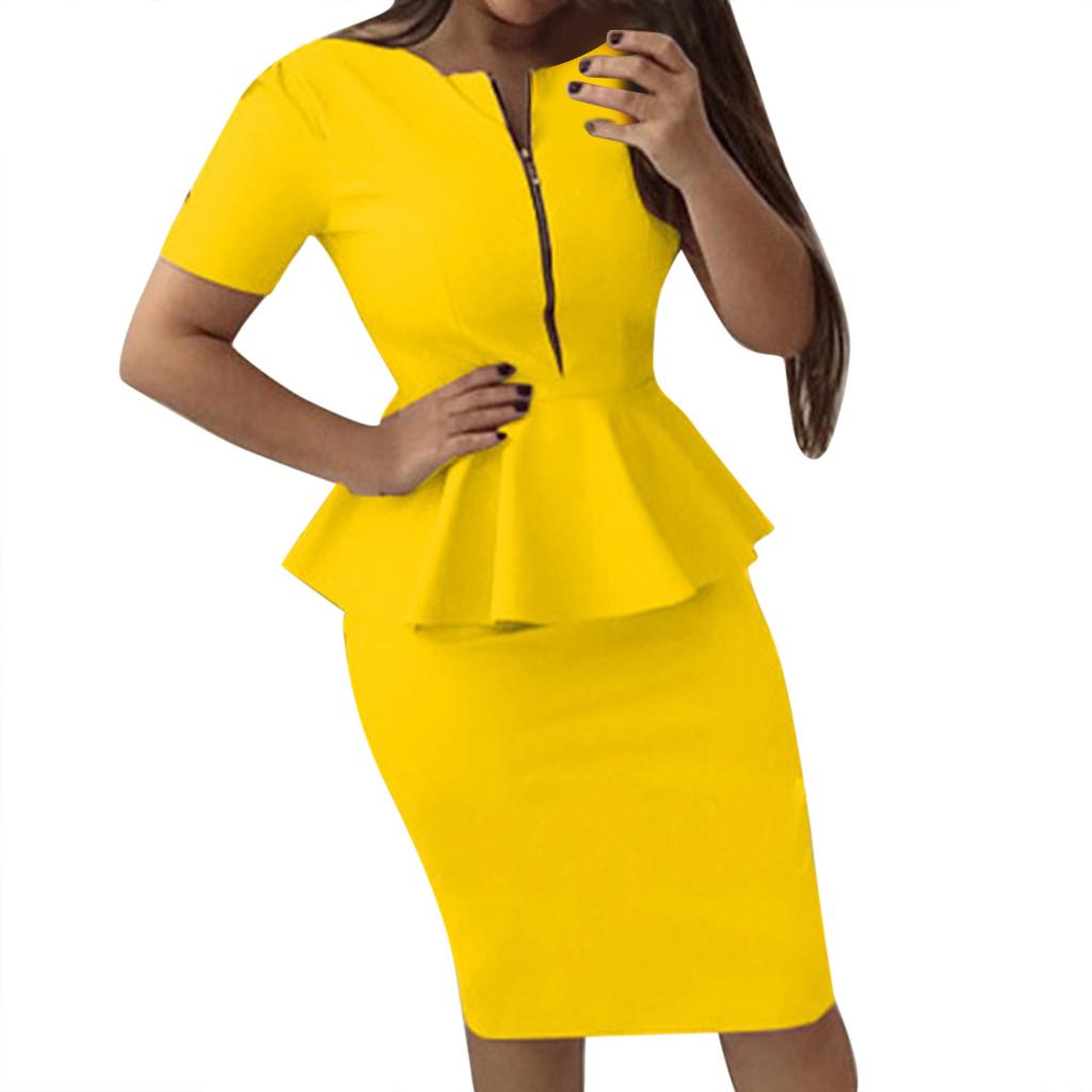 Мода повседневная женская короткий рукав молнию рябить твердых O-шеи платье Bodycon фото