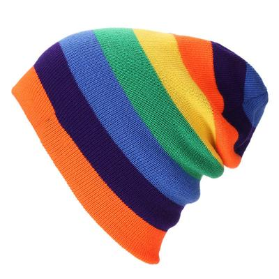 Striped Beanies Knitted Hats Winter Colors Headband Skullies Caps Rainbow  Garment garden d5d4066827d1