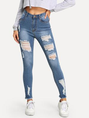 87b59c9dee SHEIN Frayed Hem Ripped Skinny Jeans-buy at a low prices on Joom e ...