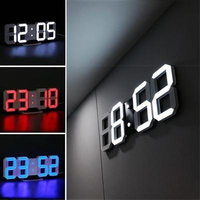 3D LED Digital Clock, Night Mode/ Brightness Adjustable Electronic Clock with Snooze Date Temperature Function