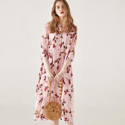e17a99676ea ВТЕМПО шелковое платье женский 2019 розовый семиточечных рукав темперамент  талии шелка долго платье