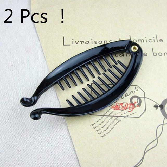 2x Womens Tail Fish Clip Hair Claw Comb Grips Clamp Barrette Ponytail Holder