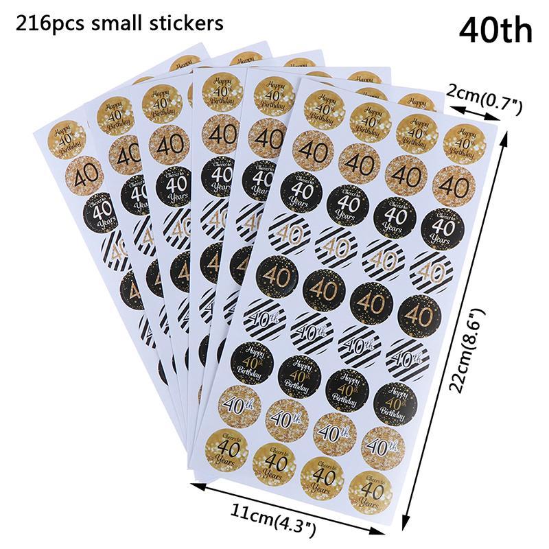 216Pcs 30//40//50//60 Birthday Label Sealing Stickers Birthday Party Decoration~