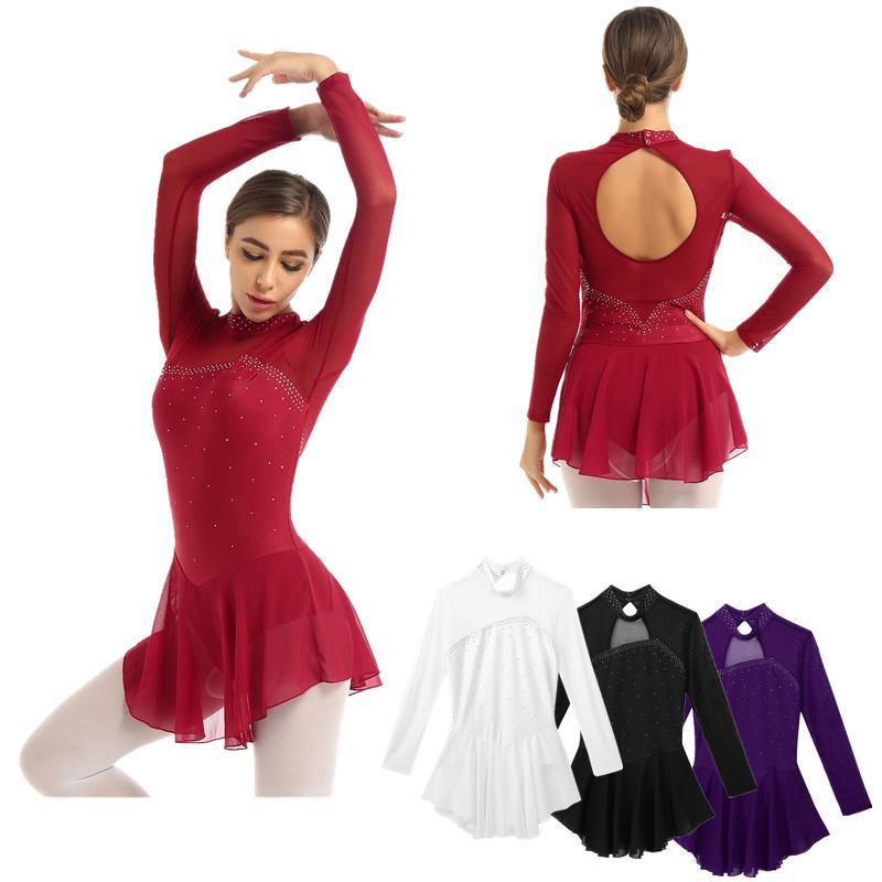 Women Figure Ice Skating Fingertip Mesh Splice Leotard Dance Dress Stage Skirts