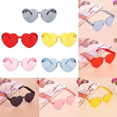 Colorful One Piece Transparent Candy Heart Shaped Sunglasses For Women