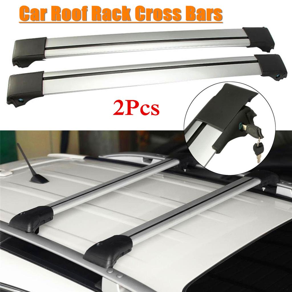 "48/"" Universal Steel Roof Top Rail Rack Car Cross Bars Luggage Carrier with Lock"