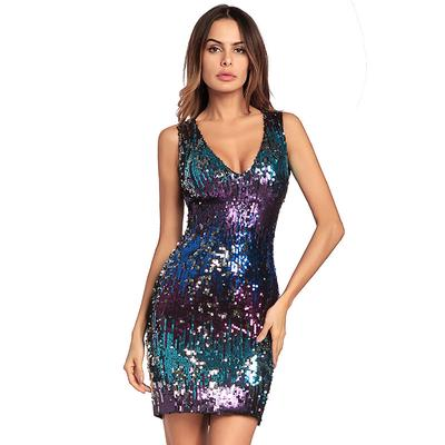 a6fa29159c Floylyn Multicolor Party Cekiny Skinny Bez Rękawów Bodycon Dress Night Out  Women Cekiny Sukienki