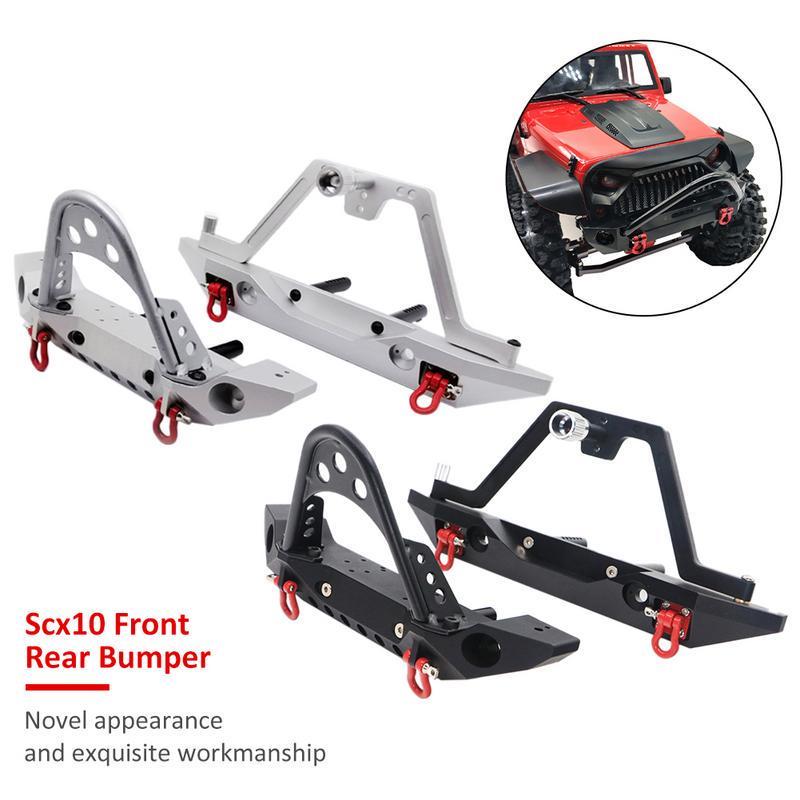 Aluminum Front Bumper CNC Bull Bar W// Shackle for1//10 RC Car TRX-4 SCX10 II Jeep