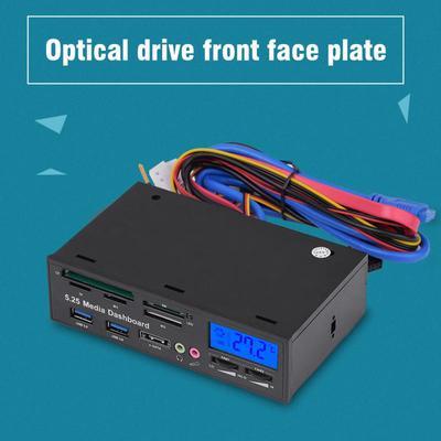 "3x USB3.0 Hub 5.25/"" Muiti-function Media Dashboard Front Panel Card Reader"