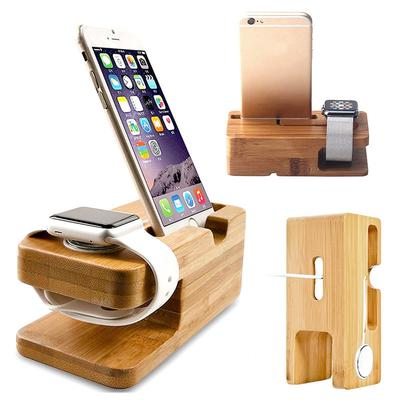 Natural Bamboo Charging Dock Station Wood Charger Stand Holder For Apple Watch & iPhone Mobile