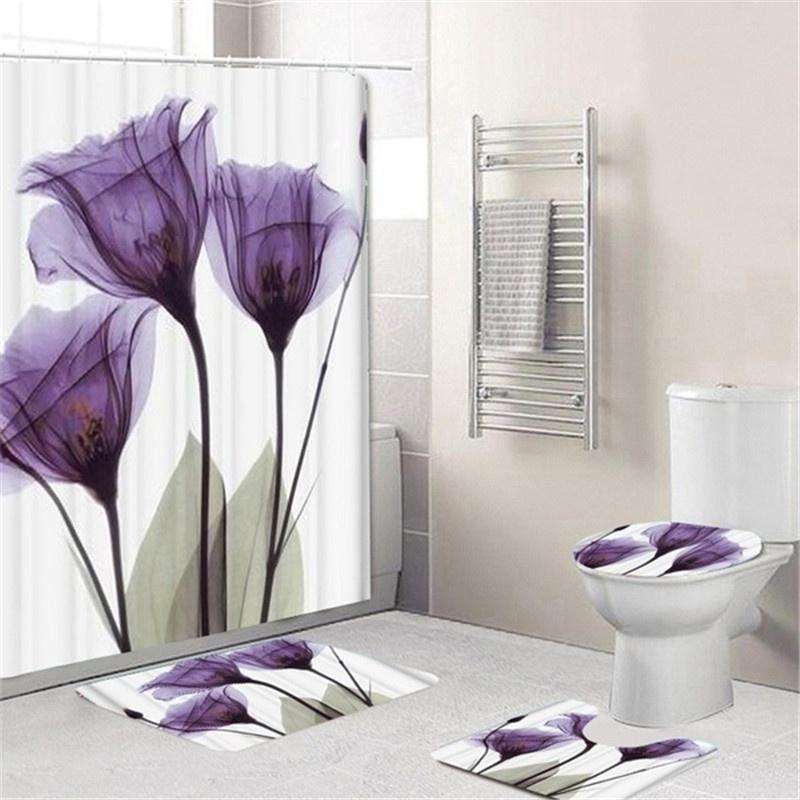 Peacock Feathers Flowers Shower Curtain Toilet Cover Rug Bath Mat Contour Rug