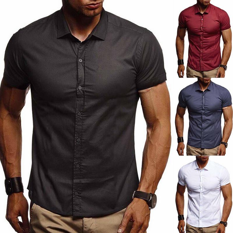 Mens Casual Shirt Short Sleeve Top Button Linen Solid Color Loose Blouses Classic Fashion Personality