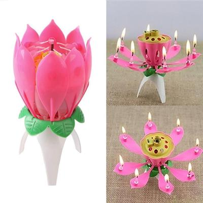 Amazing Romantic Musical Lotus Rotating Happy Birthday Wedding Candle Magical Sparklers