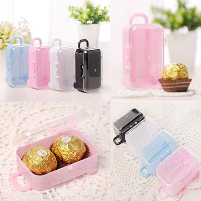 Mini Rolling Travel Suitcase Box Party Reception Candy Wedding Favors Toy KS