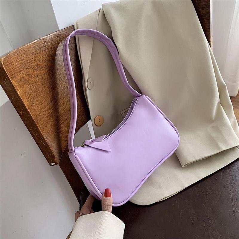 Totes Bags Retro Purple Baguette Bags Pu Leather Armpit Bag For Women Luxury Small Shoulder Handbag Female Fashion Tote Bag Buy From 6 On Joom E Commerce Platform
