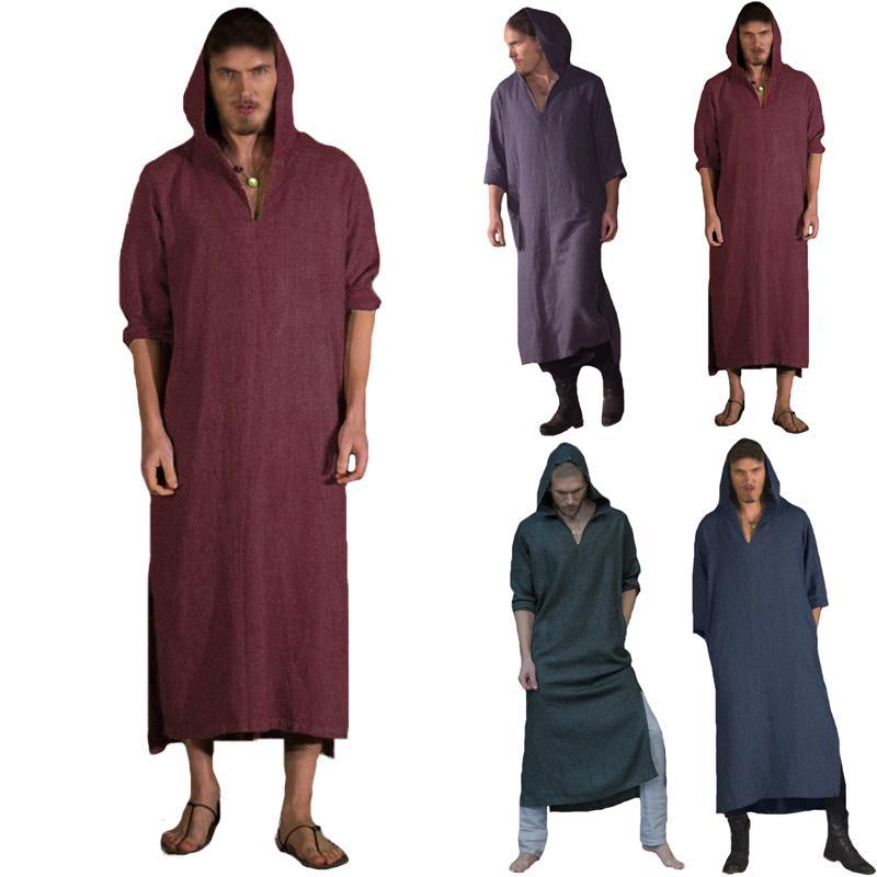 Mens Middle Eastern Thobe Thoub Muslim Islamic Arab Baggy Long Kaftan Robe Dress